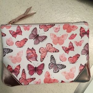 Brand new pink & white butterfly makeup ipsy bag